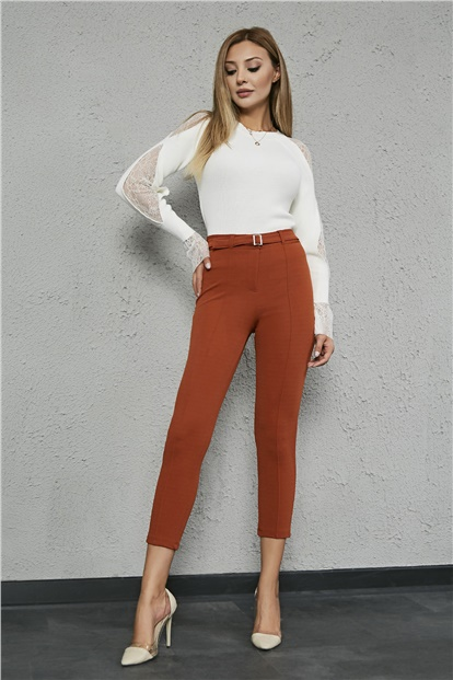 Front Binding Buckle Pants - TILE