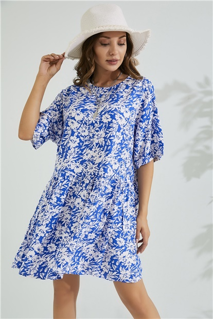 Relax Fit Dress - WHITE-BLUE