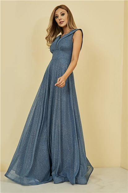 Long Evening Dress - INDIGO