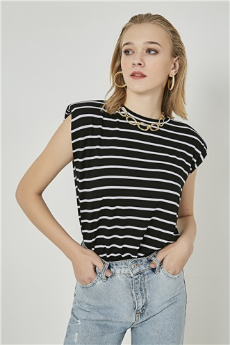 Patterned Tshirt - BLACK-AND-WHITE
