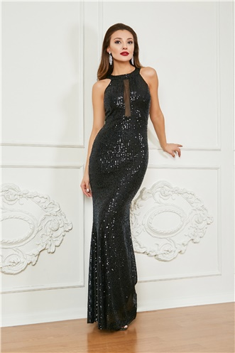 Sequinned Fish Evening Dress - BLACK