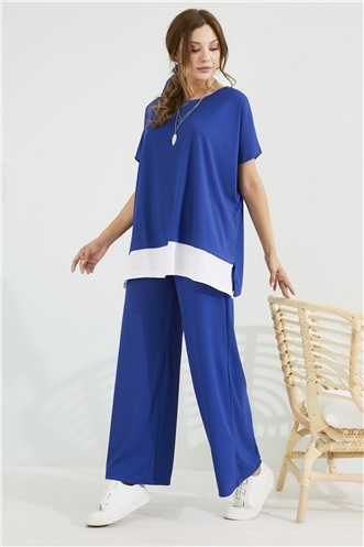 Pant Blouse Set - SAX BLUE