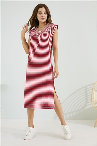 Relax Fit Dress - RED-WHITE