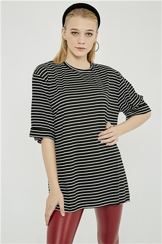 Oversize Tshirt With Tear - STRIPED BLACK