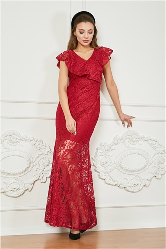 Frilly Lace Long Evening Dress - MAROON