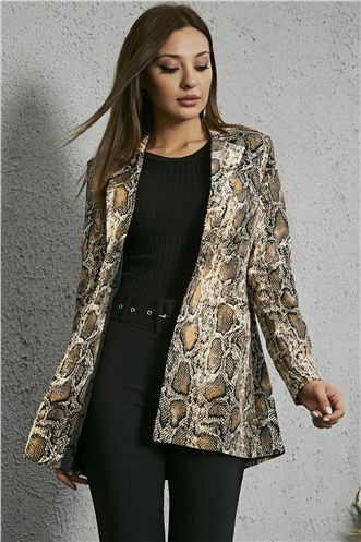 Long Snake Patterned Jacket - BLACK-AND-COFFEE