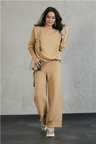 Relax Fit Knitwear Set - BEIGE