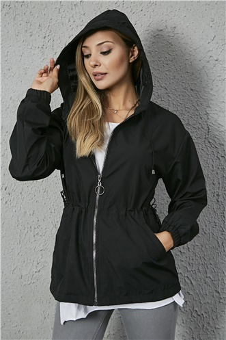 Hooded Trench Coat - BLACK