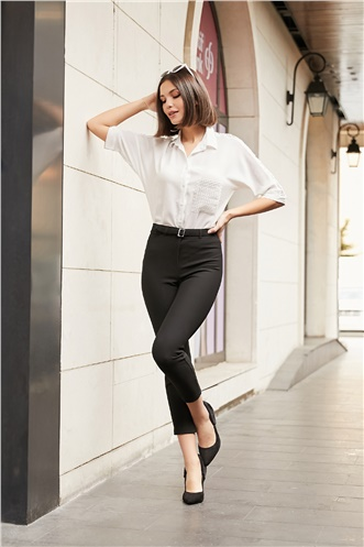 High Waist Trousers with Buckle on Ankle - BLACK
