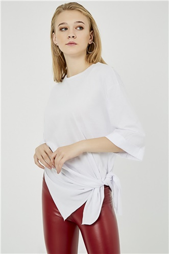 Oversize Tshirt With Tear - WHITES