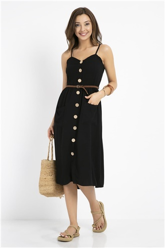 Button Detail Midi Dress - BLACK