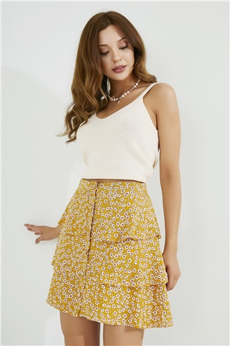 Mini Skirt - YELLOW-WHITE