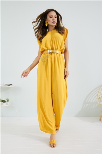 Belt Detail Jumpsuit - MUSTARD