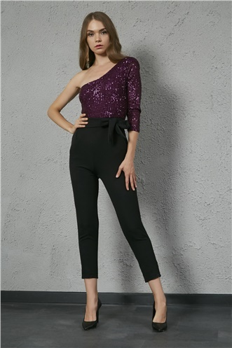 Sequin Jumpsuit - PURPLE