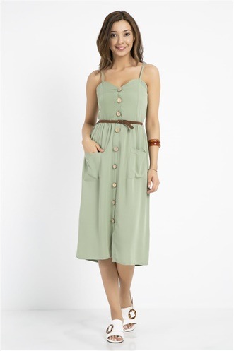 Button Detail Midi Dress - WATER GREEN