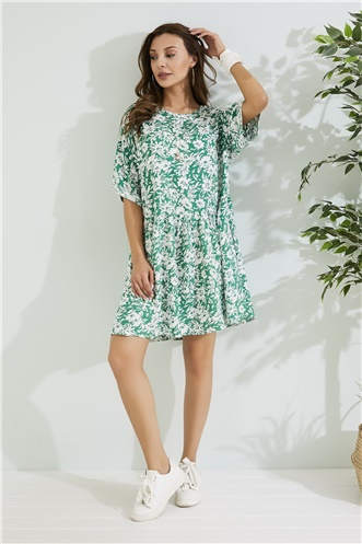 Relax Fit Dress - GREEN-WHITE