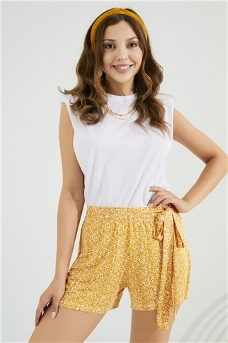 Mini Short - MUSTARD-WHITE