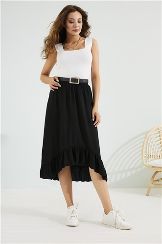 Midi Frilly Skirt - BLACK
