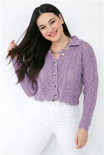 Openwork Collar Buttoned Knitwear Cardigan - LILA
