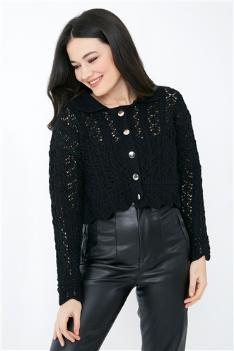 Openwork Collar Buttoned Knitwear Cardigan - BLACK