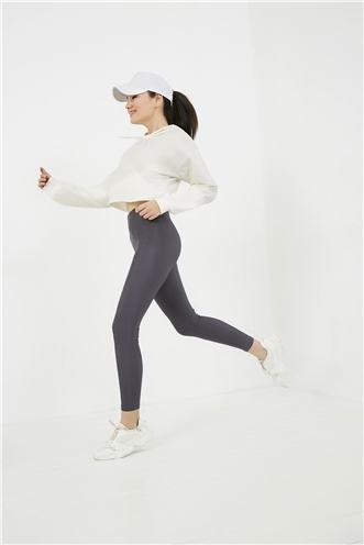 High Waist Scuba Tights - ANTHRACITE